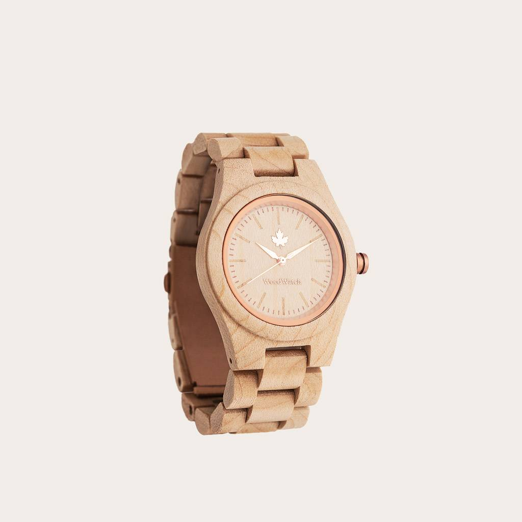 woodwatch vrouwen houten horloge core collectie 36 mm diameter maple rosegold esdoorn hout