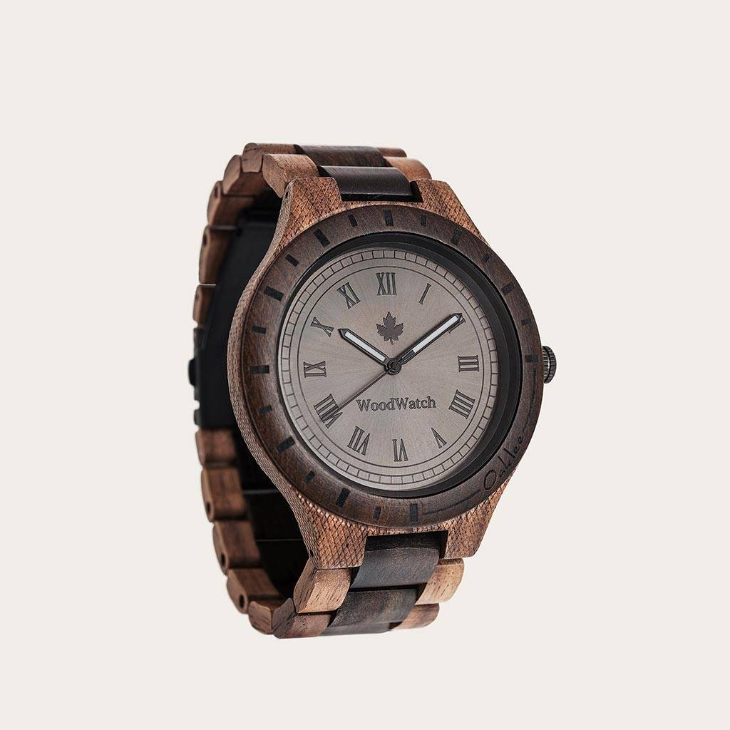 woodwatch mannen houten horloge original collectie 47 mm oaklee stoopie edition walnoot hout