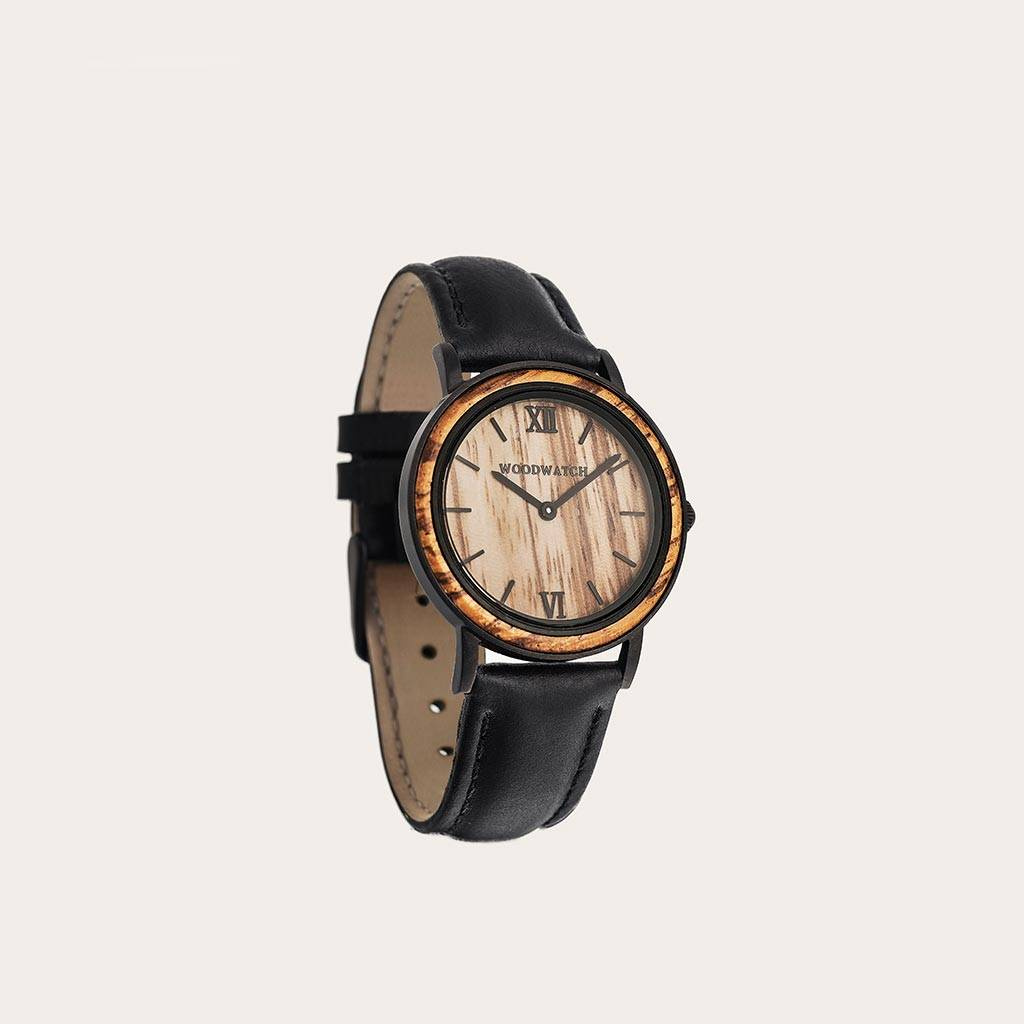 woodwatch men wooden watch minimal collection 34 mm diameter striped zebra jet petite zebra wood black leather band