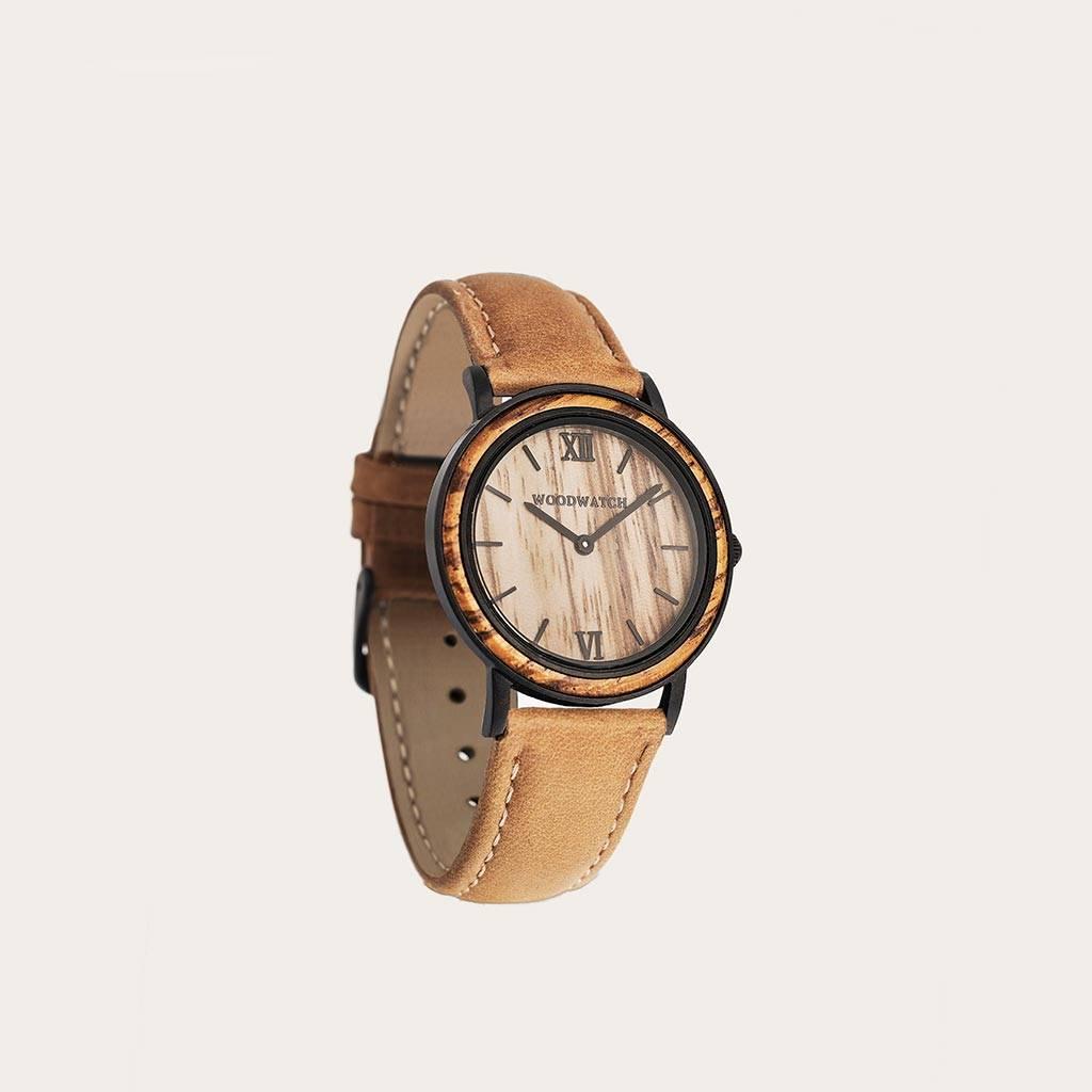 woodwatch men wooden watch minimal collection 34 mm diameter striped zebra amber petite zebra wood black leather band