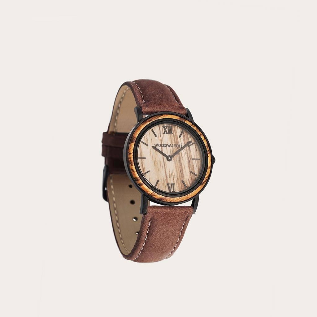 woodwatch men wooden watch minimal collection 34 mm diameter striped zebra pecan petite zebra wood black leather band