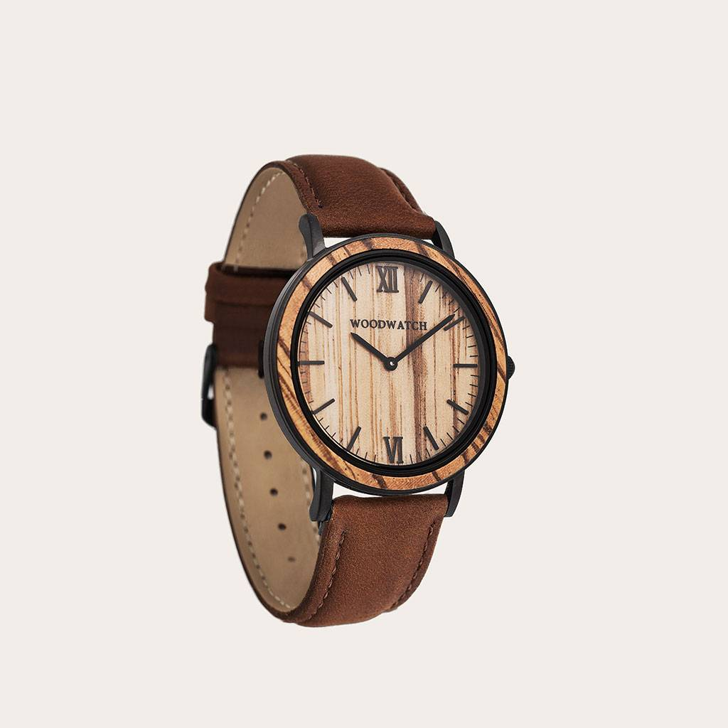woodwatch mannen houten horloge minimal collectie 40 mm diameter striped zebra pecan zebrahout bruin leer band