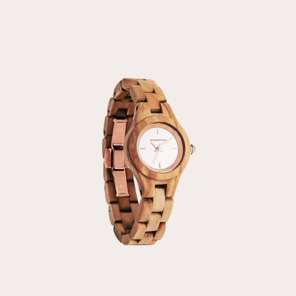 woodwatch femme montre en bois flora collection 26 mm diamètre blossom bois d'olivier