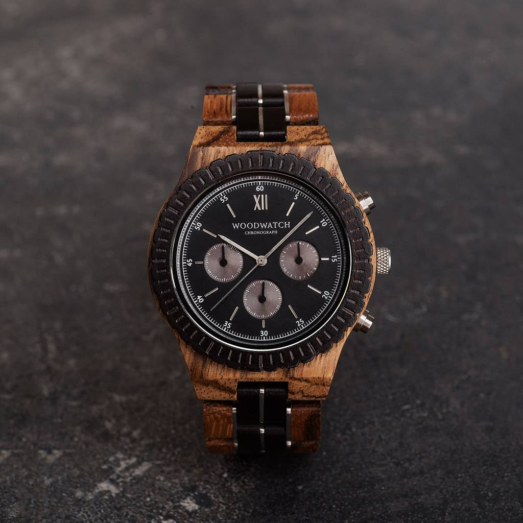 woodwatch homme montre en bois grand collection 45 mm diamètre chronograph bois de santal noir bois zingana