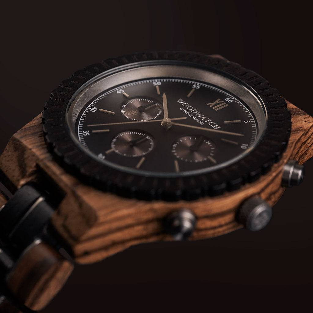 woodwatch men wooden watch chronograph collection 45 mm diameter chronograph black sandal zebra wood
