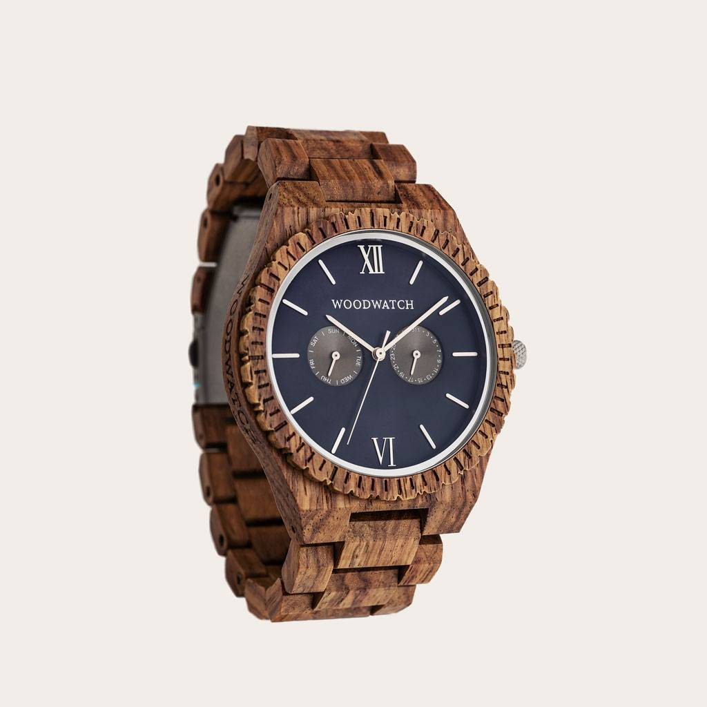 woodwatch men wooden watch grand collection 47 mm diameter ocean blue kosso wood