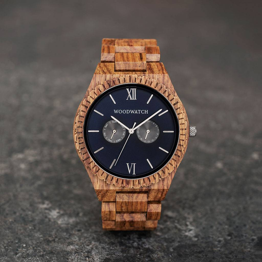 woodwatch mann hölzern uhr grand kollektion 47 mm durchmesser ocean blue kosso holz