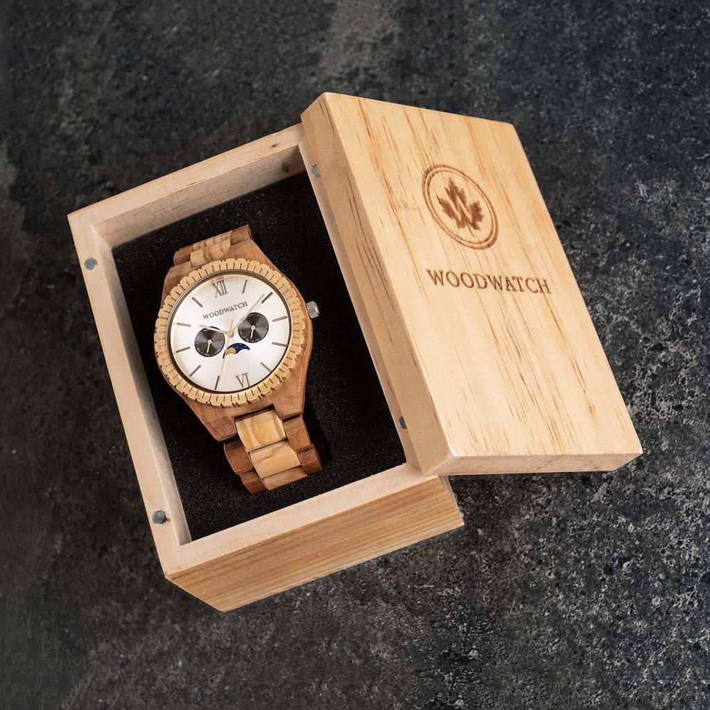woodwatch mannen houten horloge grand collectie 47 mm raw mirage olijfhout