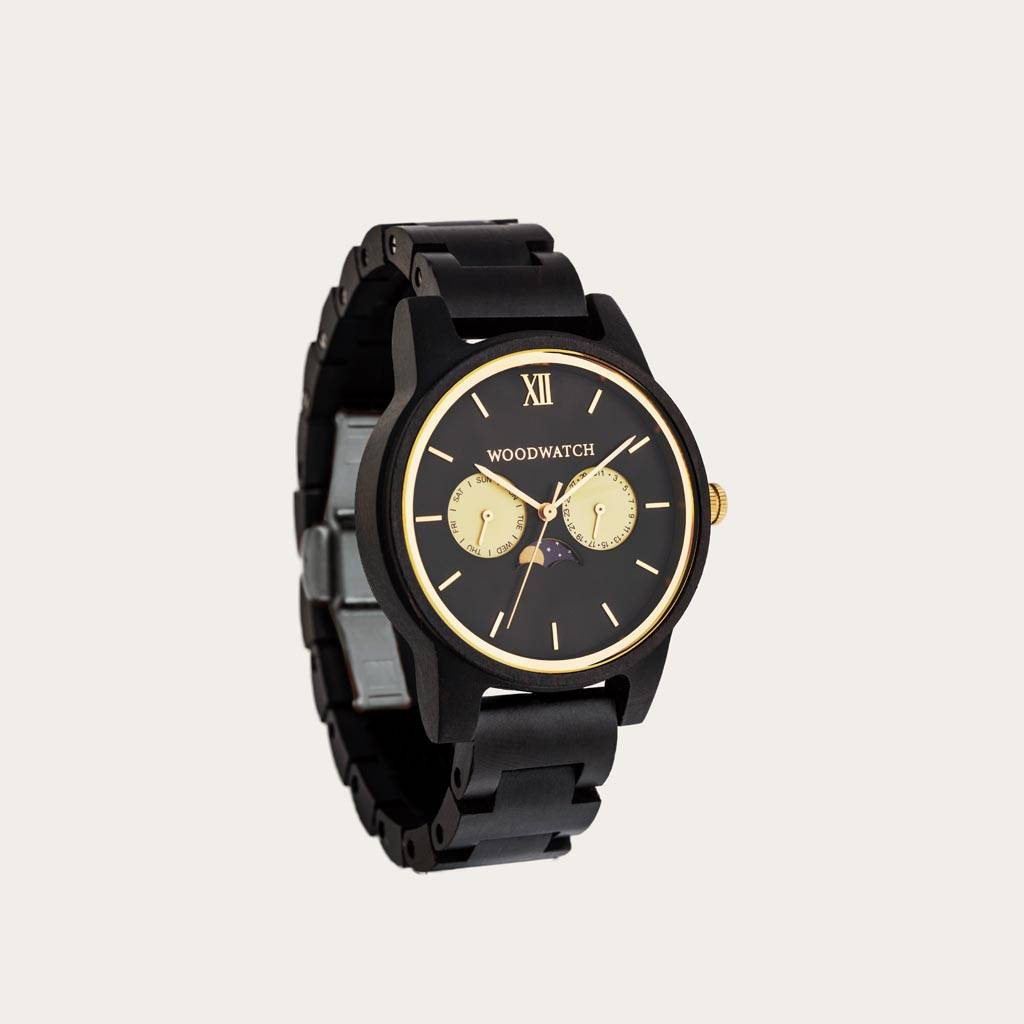 woodwatch mannen houten horloge classic collectie 40 mm rogue ebbenhout
