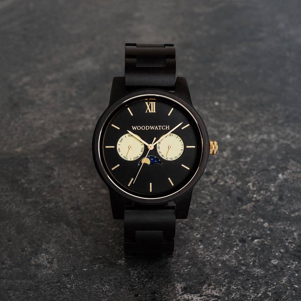 woodwatch uomo orologio di legno classic collezione 40 mm diametro rogue ebano
