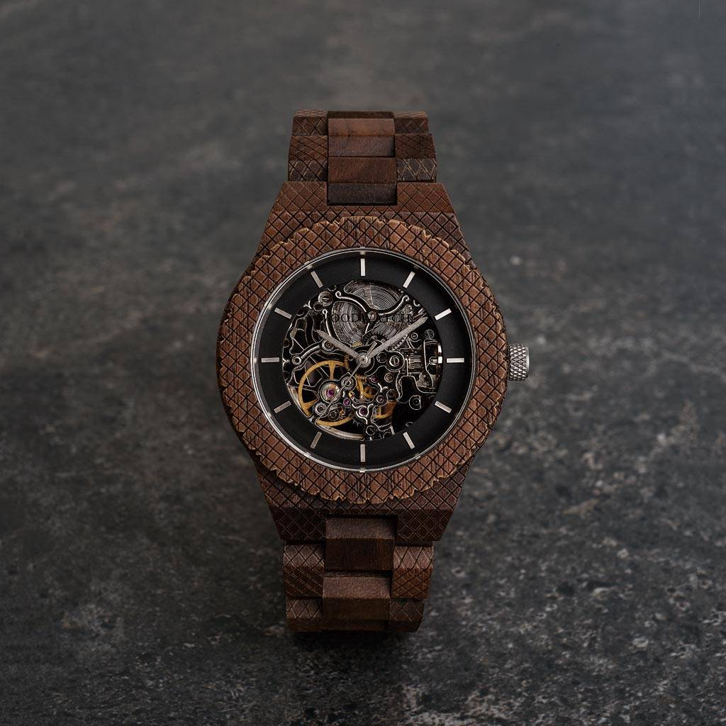 woodwatch mannen houten horloge automatic collectie 42 mm explorer walnoot hout