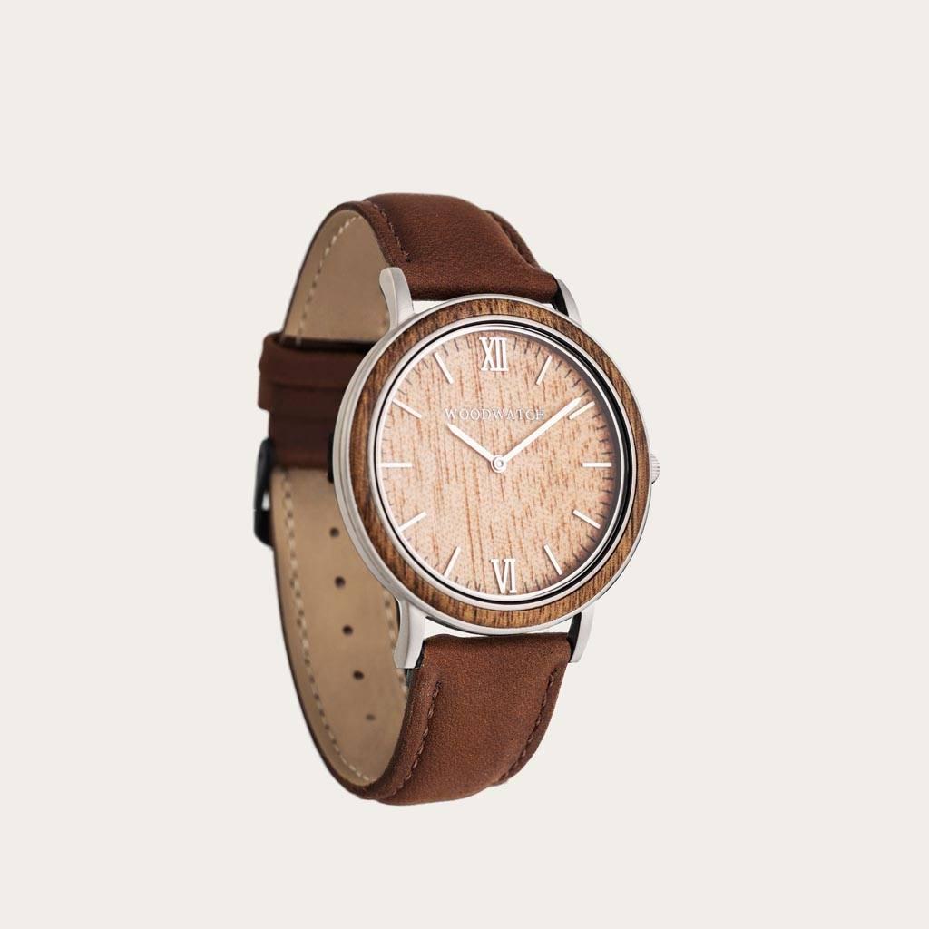woodwatch mann hölzern uhr minimal kollektion 40 mm durchmesser acacia pecan acacia holz braun leder uhrenarmband