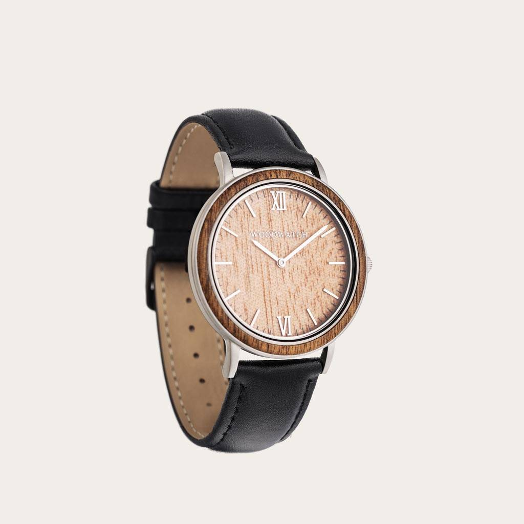 woodwatch mann hölzern uhr minimal kollektion 40 mm durchmesser acacia jet acacia holz schwarz leder uhrenarmband
