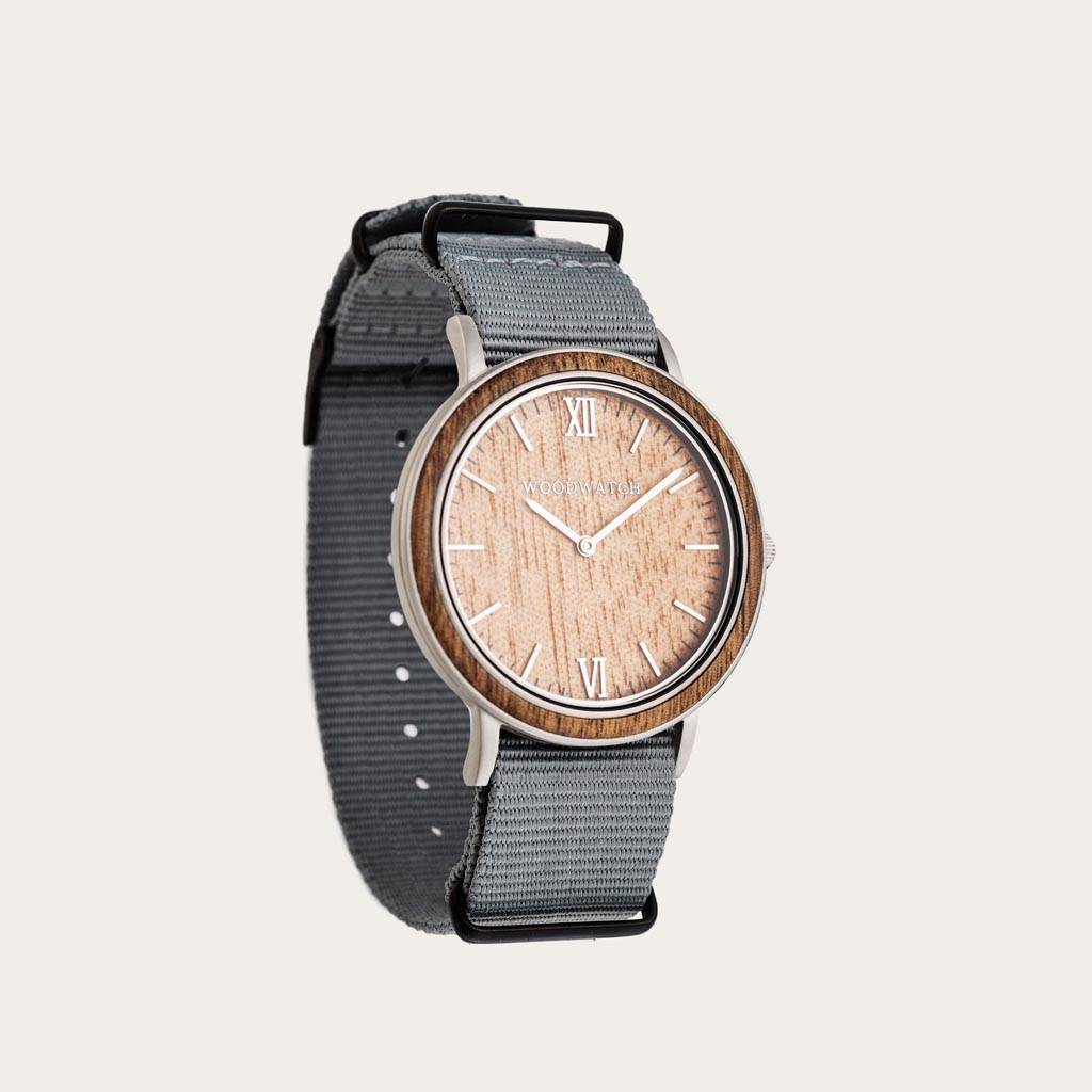 woodwatch men wooden watch minimal collection 40 mm diameter acacia graphite acacia wood grey nylon band