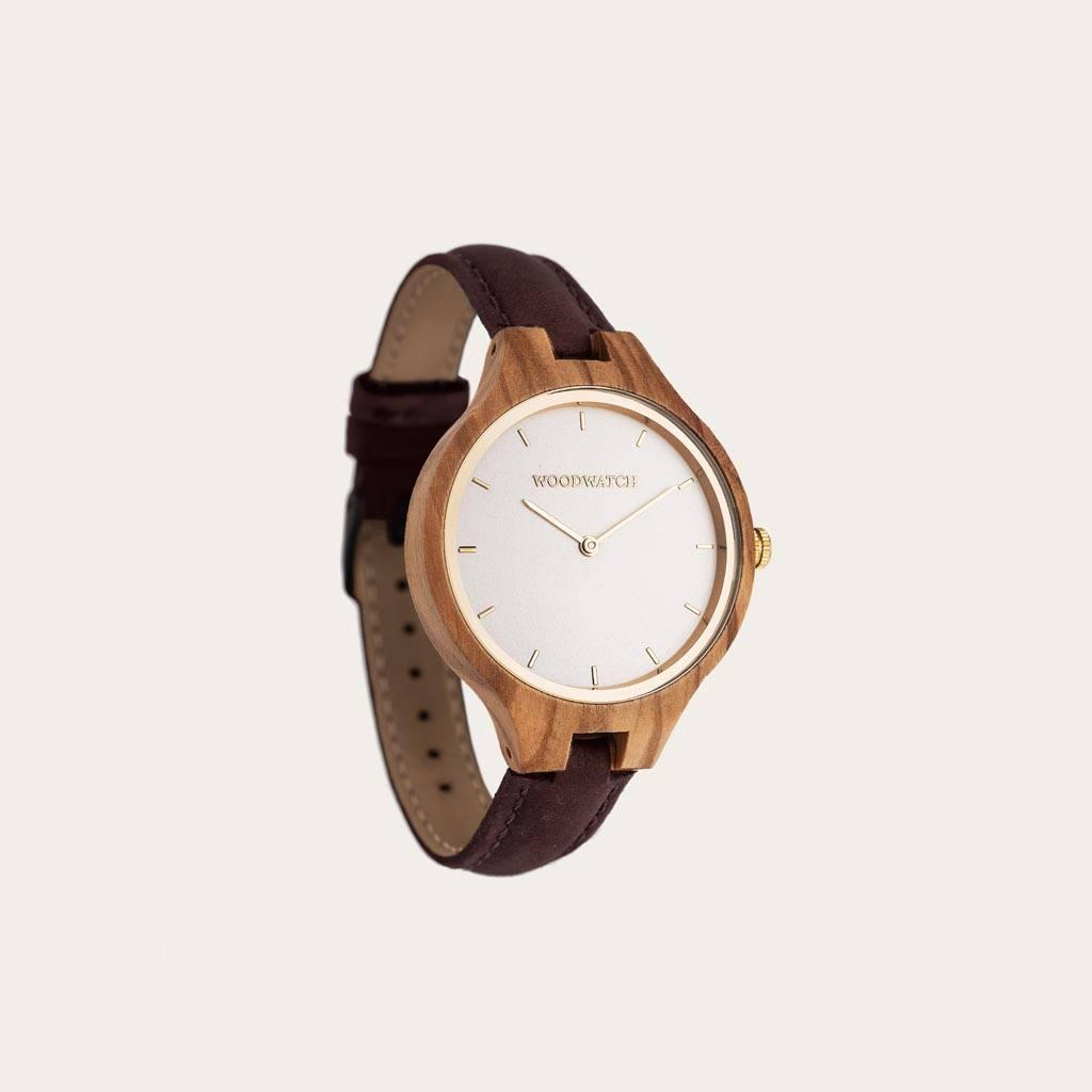 woodwatch mujer reloj de madera aurora colección 36 mm diámetro nordic sun medra olivo