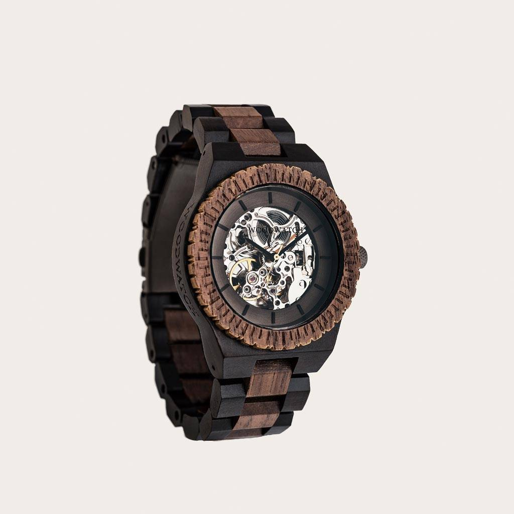woodwatch men wooden watch automatic collection 42 mm diameter navigator walnut wood ebony wood