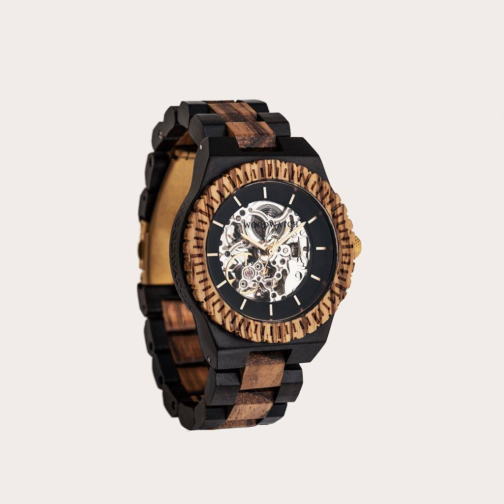 woodwatch men wooden watch automatic collection 42 mm diameter voyager zebra wood ebony wood
