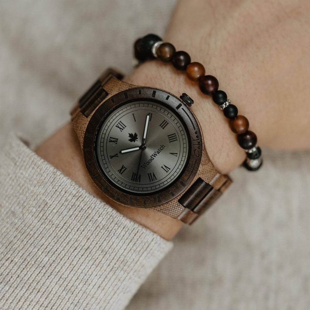 woodwatch mannen houten horloge original collectie 47 mm oaklee stoopie edition walnoot hout