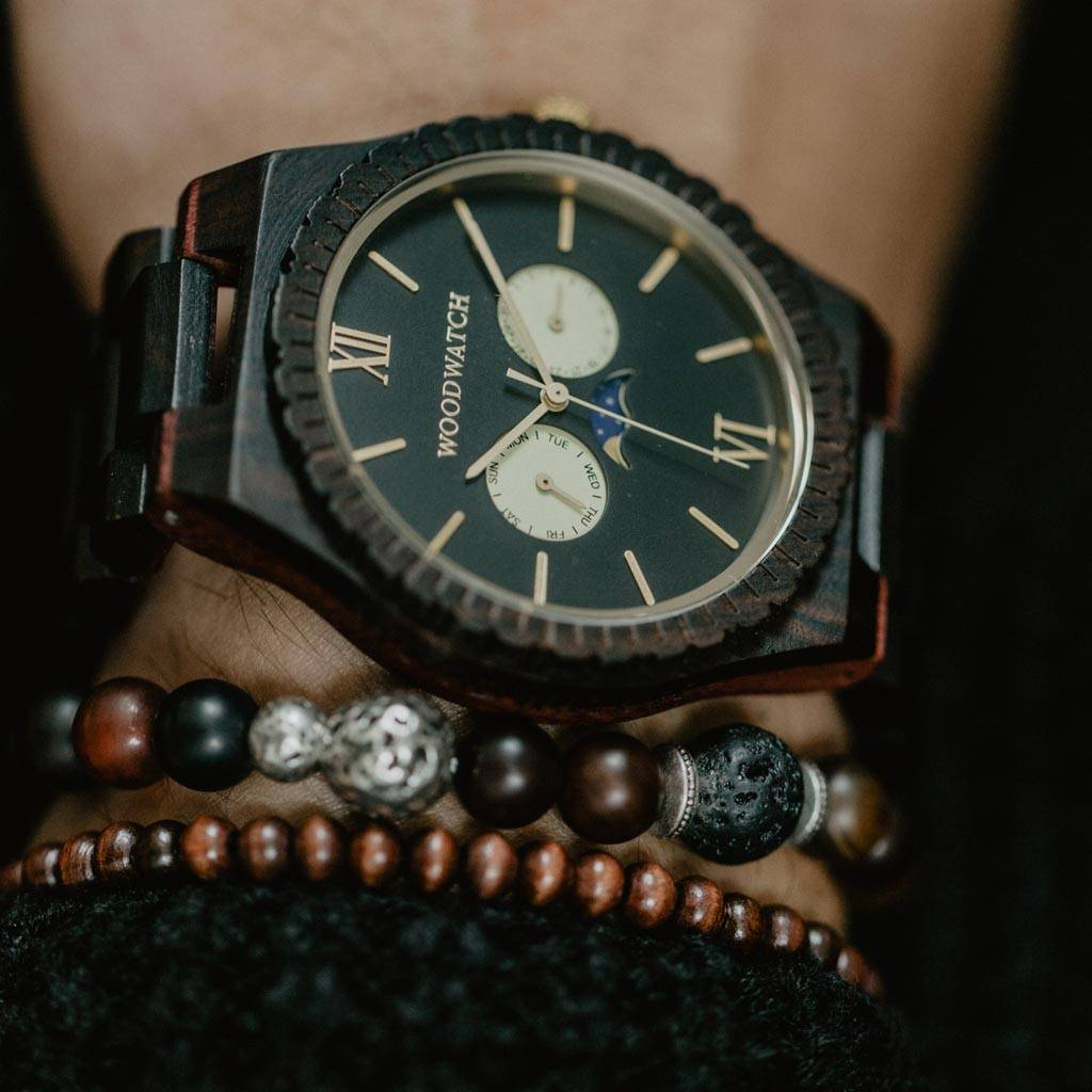 woodwatch men wooden watch grand collection 47 mm diameter night gaze ebony wood