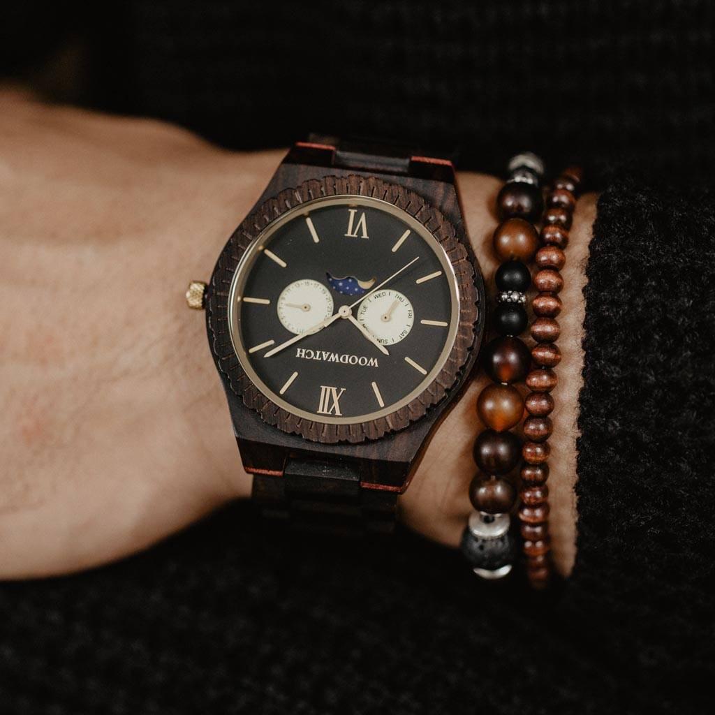 woodwatch mannen houten horloge grand collectie 47 mm night gaze ebbenhout