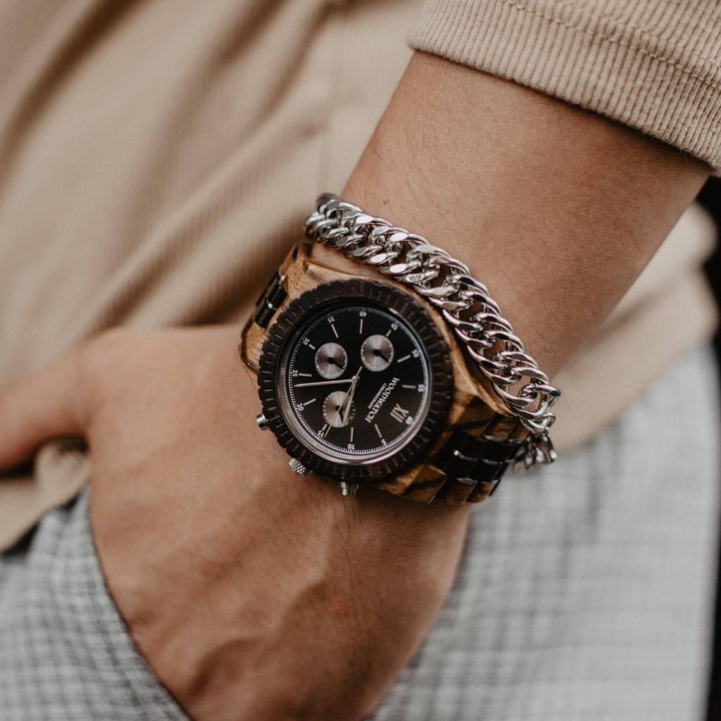 woodwatch homme montre en bois grand collection 45 mm diamètre chronograph bois de santal noir bois zingana