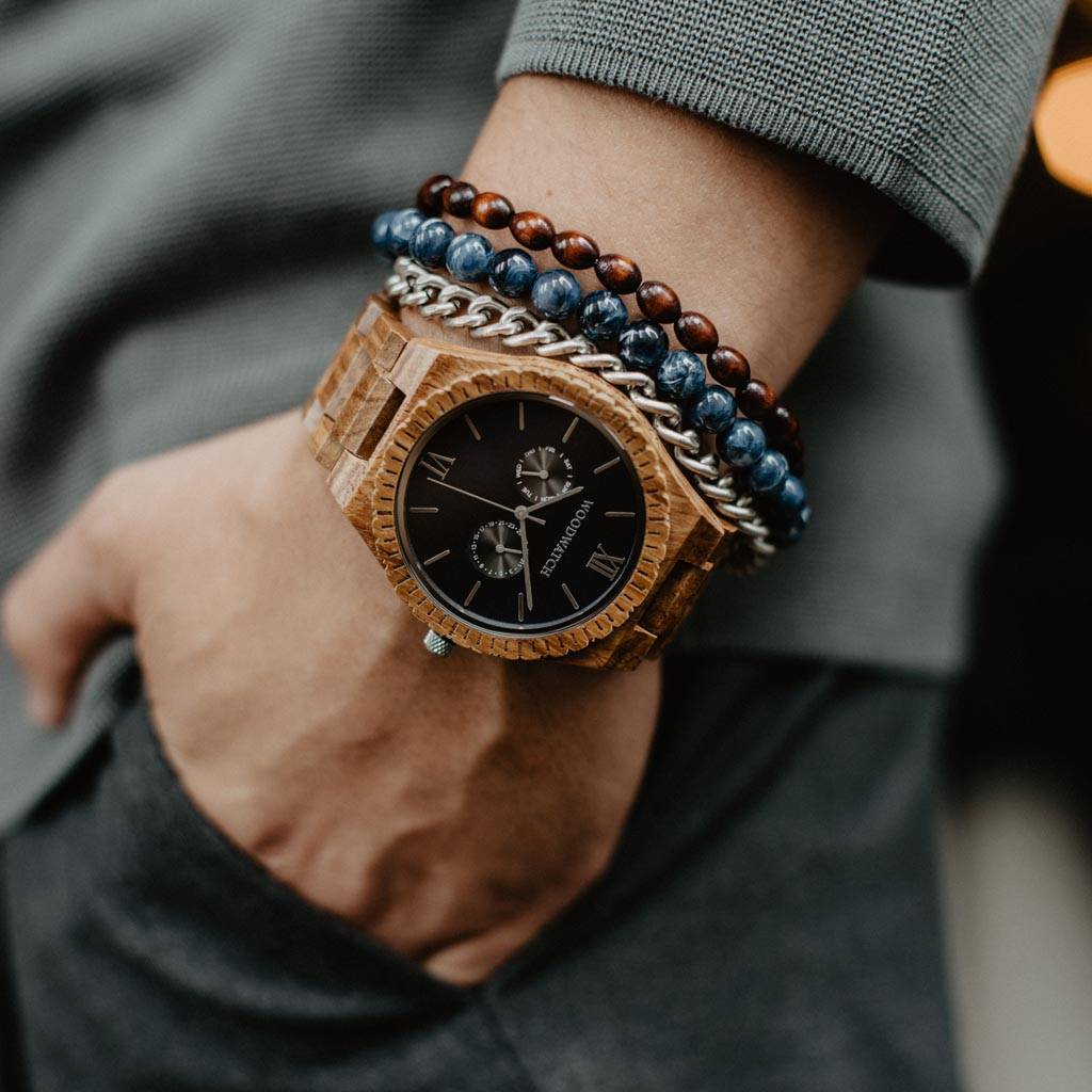 woodwatch mannen houten horloge grand collectie 47 mm midnight black teak hout