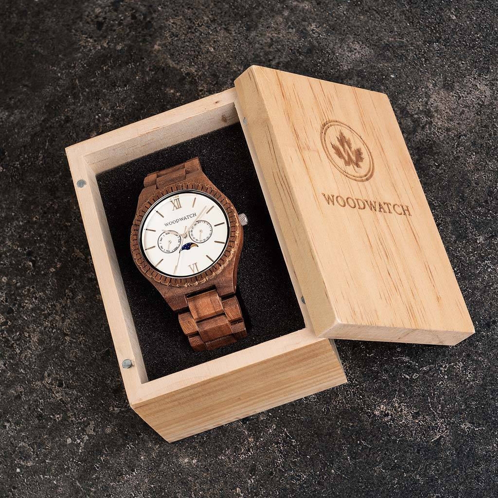 woodwatch men wooden watch grand collection 47 mm diameter white atlas