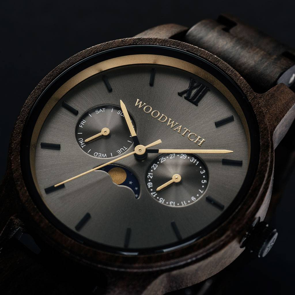 woodwatch mannen houten horloge classic collectie 40 mm diameter argo zwart sandelhout