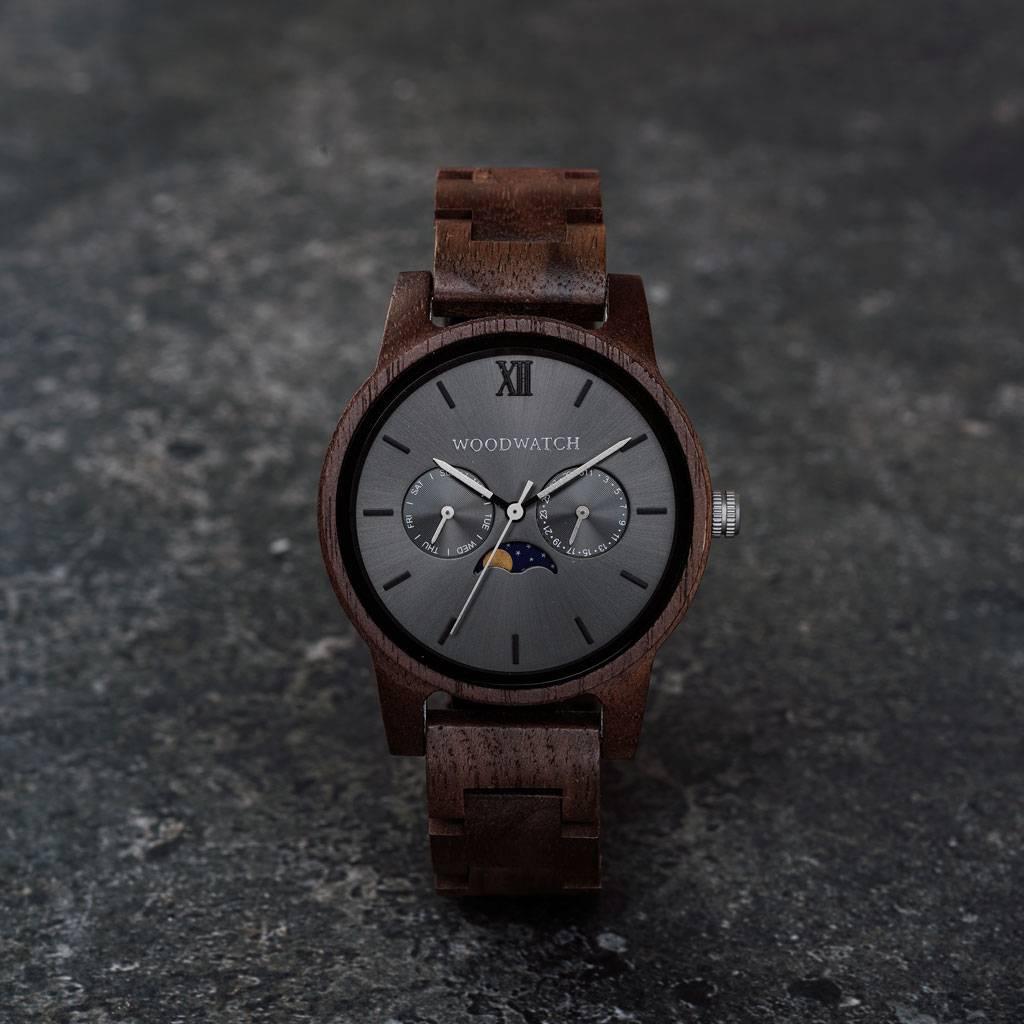 woodwatch mannen houten horloge classic collectie 40 mm diameter slate walnoot hout