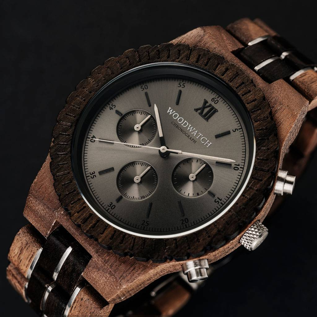 woodwatch mannen houten horloge chronograph collectie 45 mm atlas walnoot hout zwarte sandelhout