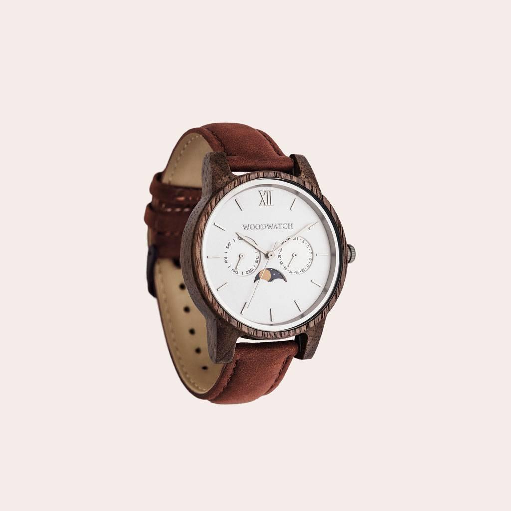 woodwatch mannen houten horloge classic collectie 40 mm diameter ghost pecan walnoot hout