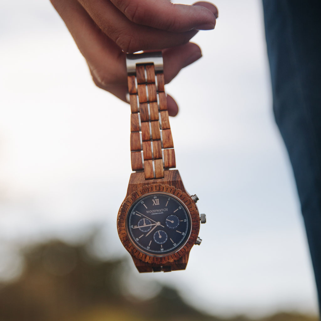 woodwatch uomo orologio di legno chronograph collezione 45 mm diametro poseidon legno di kosso
