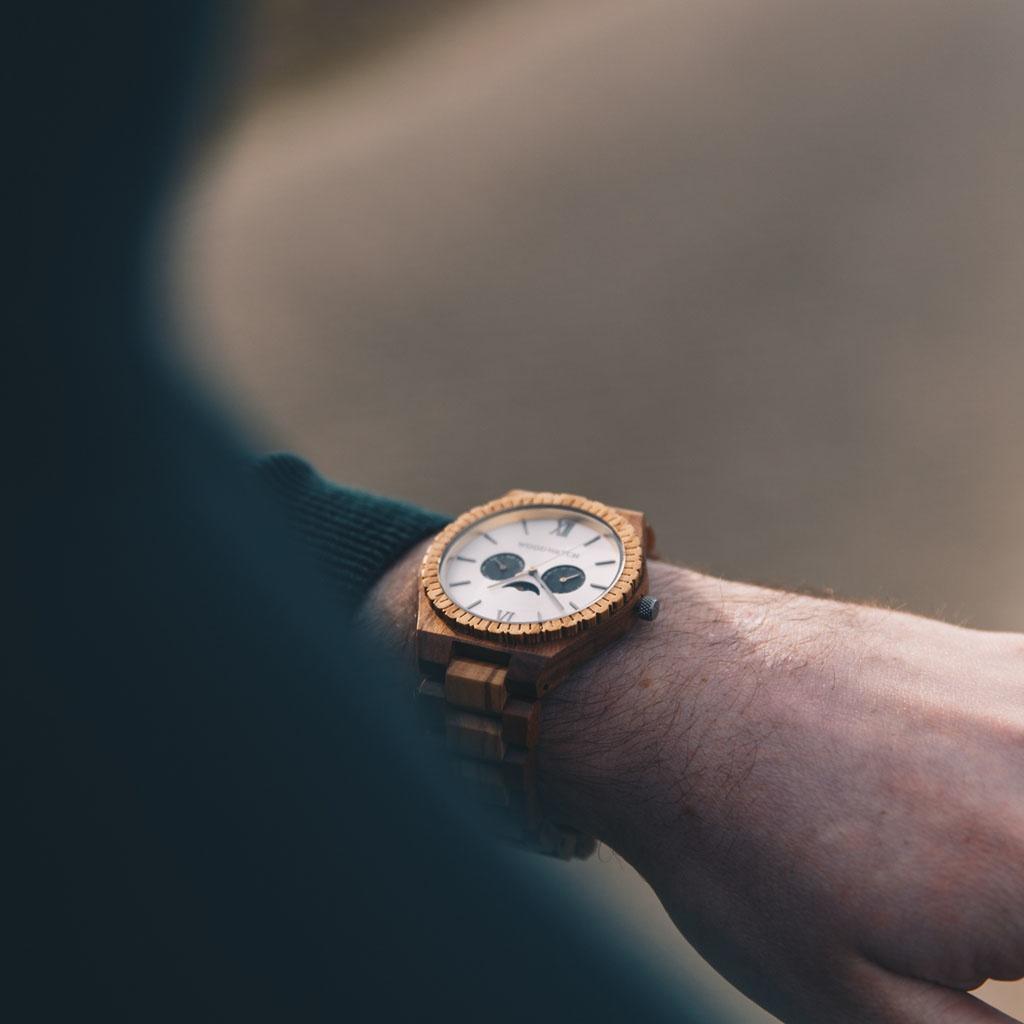 woodwatch hombre reloj de madera grand colección 47 mm diámetro raw mirage madera de olivo