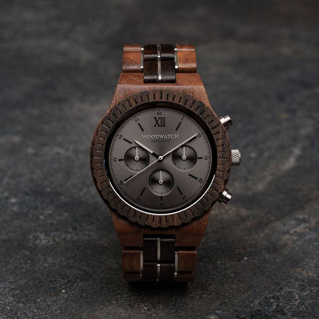 Prepare for adventure with our fully featured, hand-crafted Chronograph wrist watch. This premium design watch features a 45mm walnut case, black stainless steel dial and a SEIKO VD54 movement. The unique new strap combines sustainable walnut wood and bla