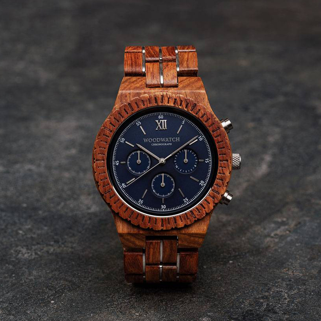 woodwatch mannen houten horloge chronograph collectie 45 mm poseidon kosso hout