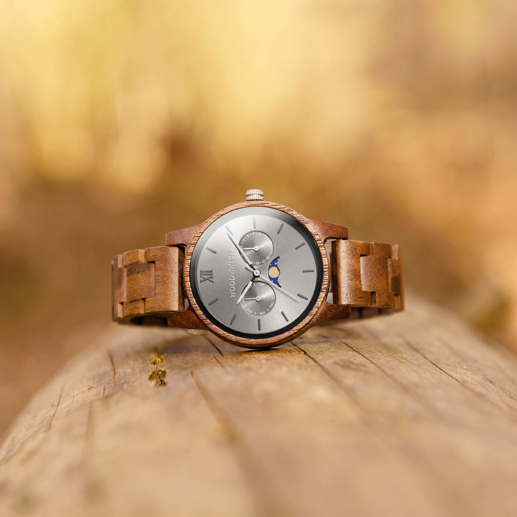 woodwatch uomo orologio di legno classic collezione 40 mm diametro slate legno noce