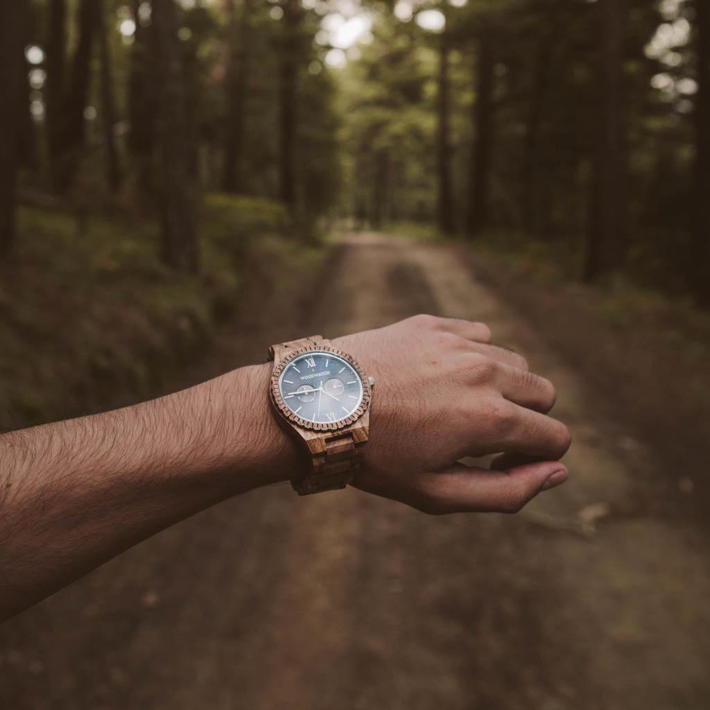 woodwatch hombre reloj de madera grand colección 47 mm diámetro ocean blue madera kosso