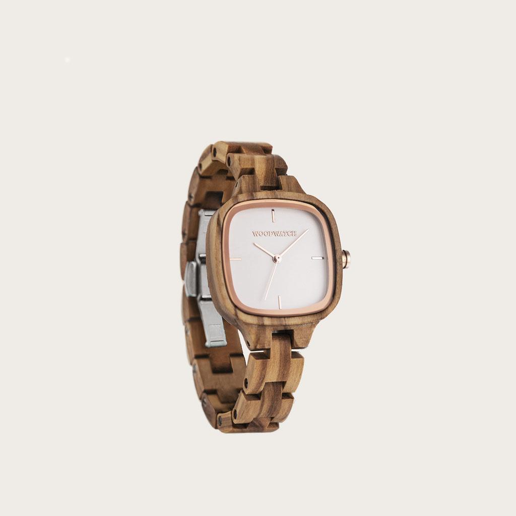 woodwatch vrouwen houten horloge city collectie 30 mm diameter muse olijf hout
