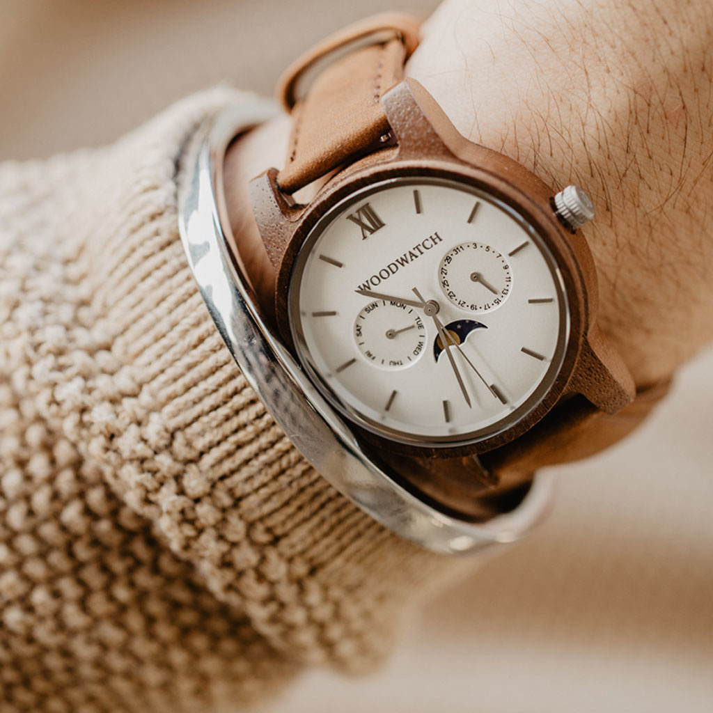 woodwatch uomo orologio di legno classic collezione 40 mm diametro ghost pecan legno noce
