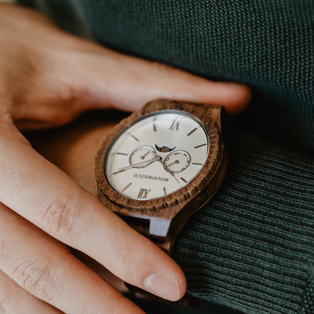 woodwatch mannen houten horloge grand collectie 47 mm white atlas