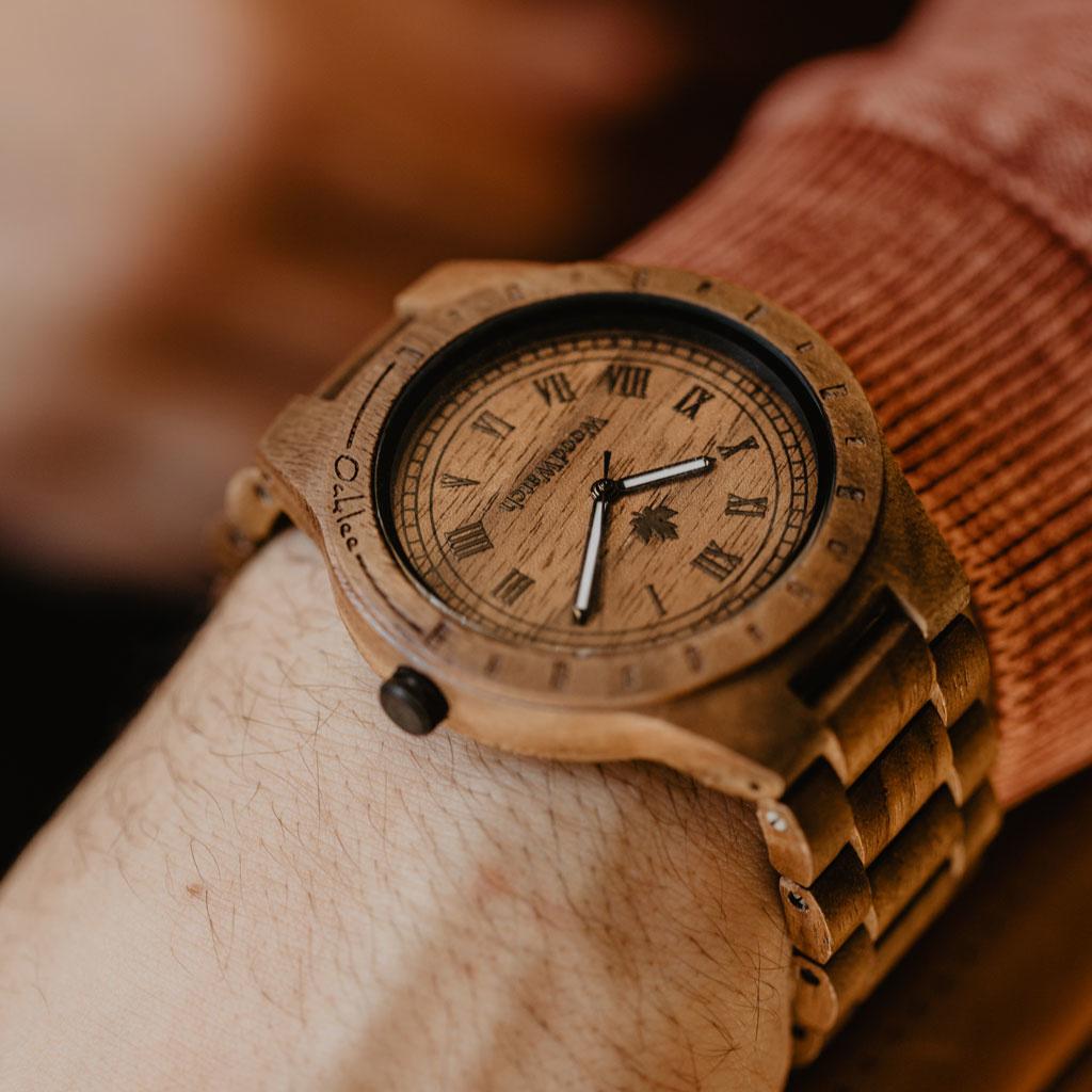 woodwatch mannen houten horloge original collectie 47 mm oaklee walnoot hout