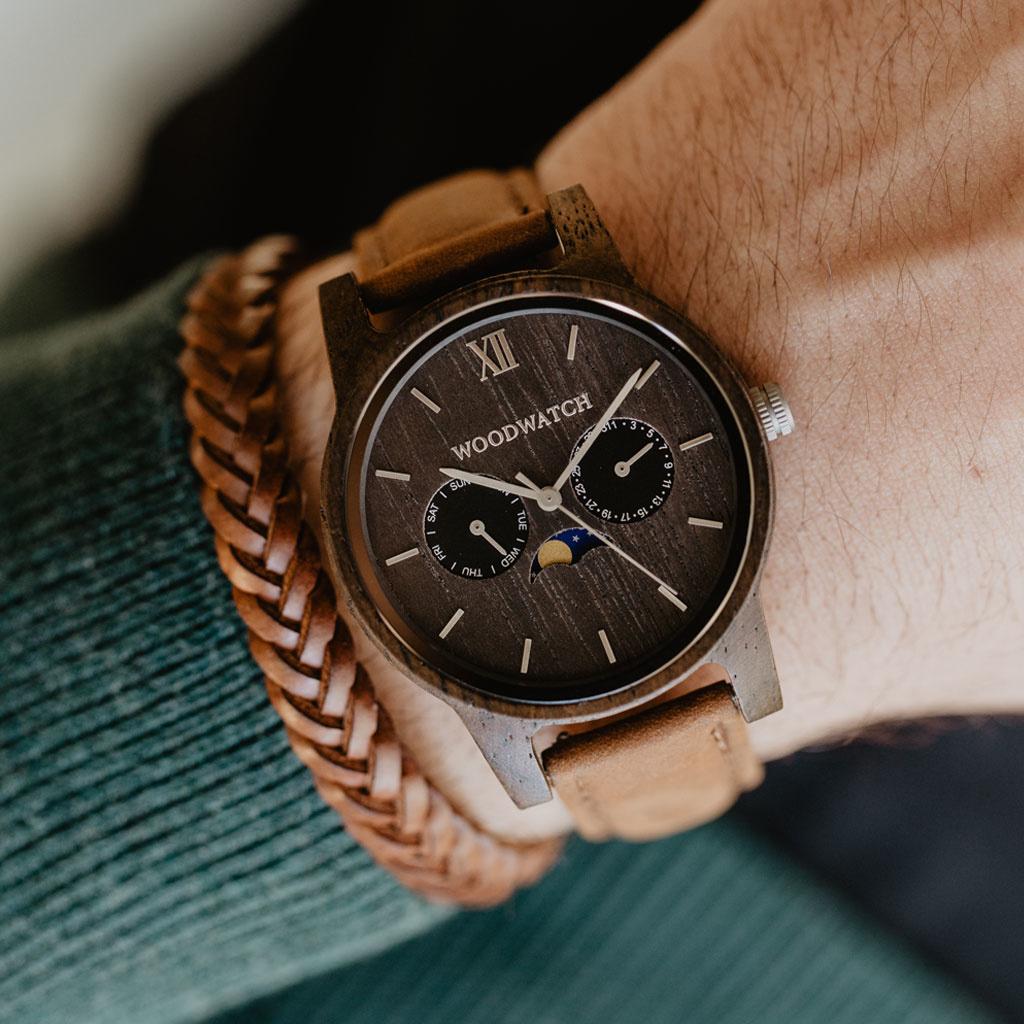 woodwatch uomo orologio di legno classic collezione 40 mm diametro raven pecan legno di monzo