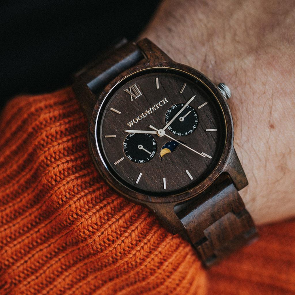 woodwatch mann hölzern uhr classic kollektion 40 mm durchmesser raven monzo holz