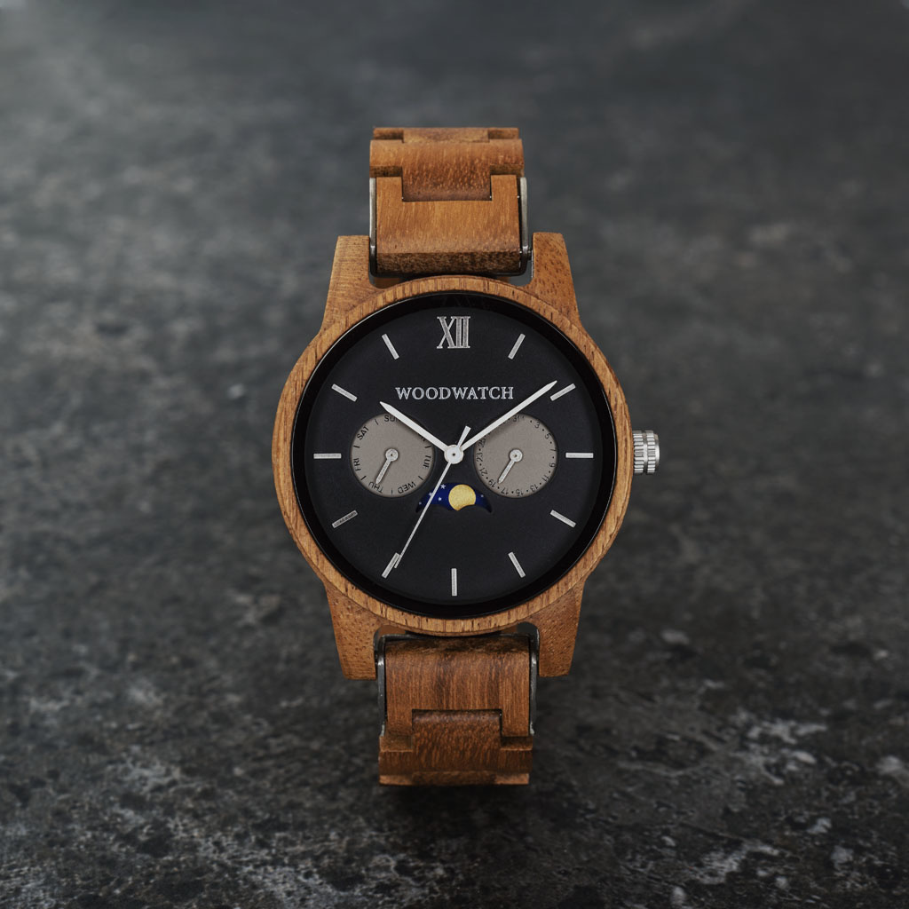 woodwatch hombre reloj de madera classic colección 40 mm diámetro maverick madera teca