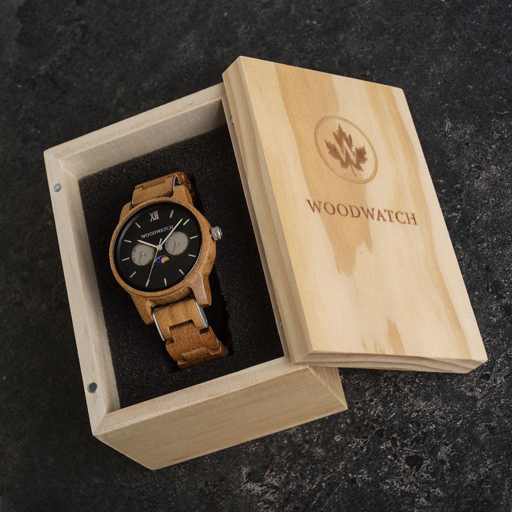 woodwatch mannen houten horloge classic collectie 40 mm maverick teak hout