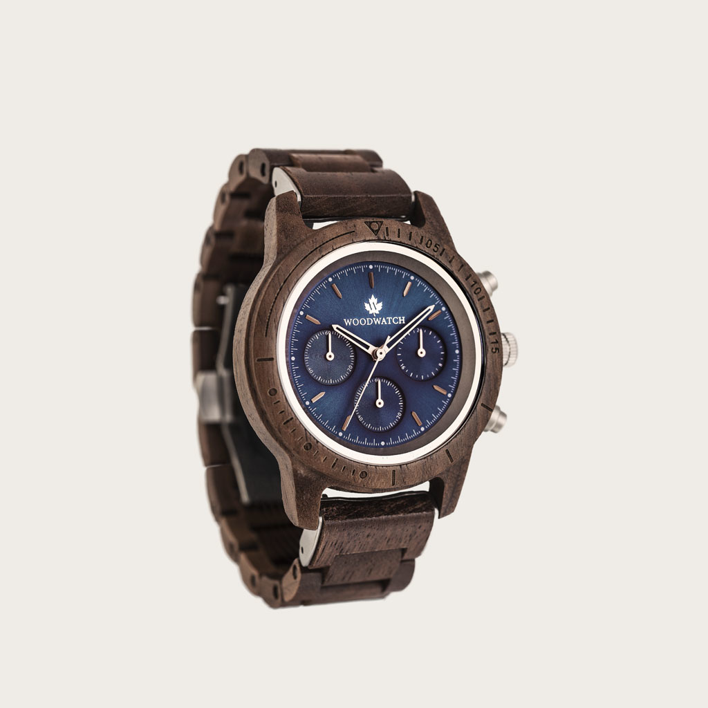 The CHRONUS Collection features a classic SEIKO VD54 chronograph movement, scratch resistant sapphire coated glass and stainless steel enforced strap links. Made from American Walnut Wood and handcrafted to perfection. All featuring a 42mm diameter case,