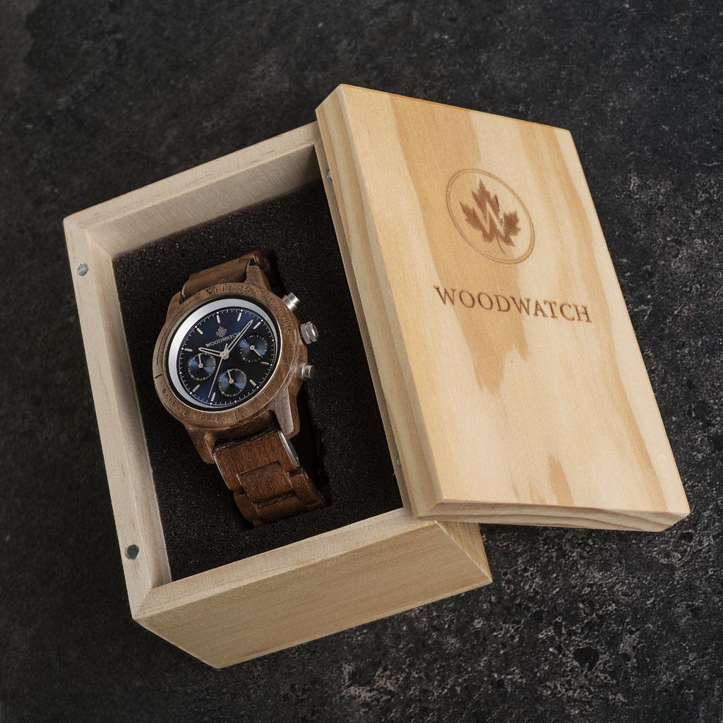 woodwatch men wooden watch chronus collection 42 mm diameter sapphire silver walnut wood