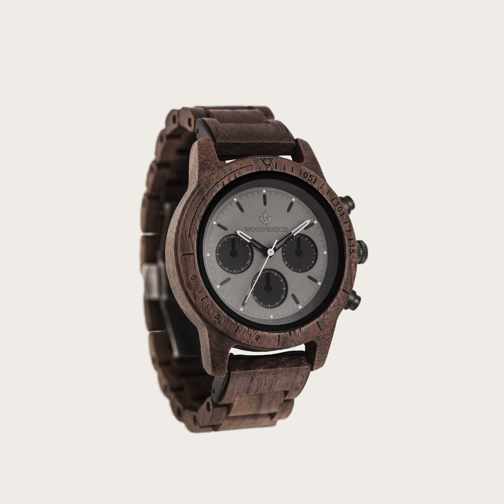woodwatch men wooden watch chronus collection 42 mm diameter axinite black walnut wood