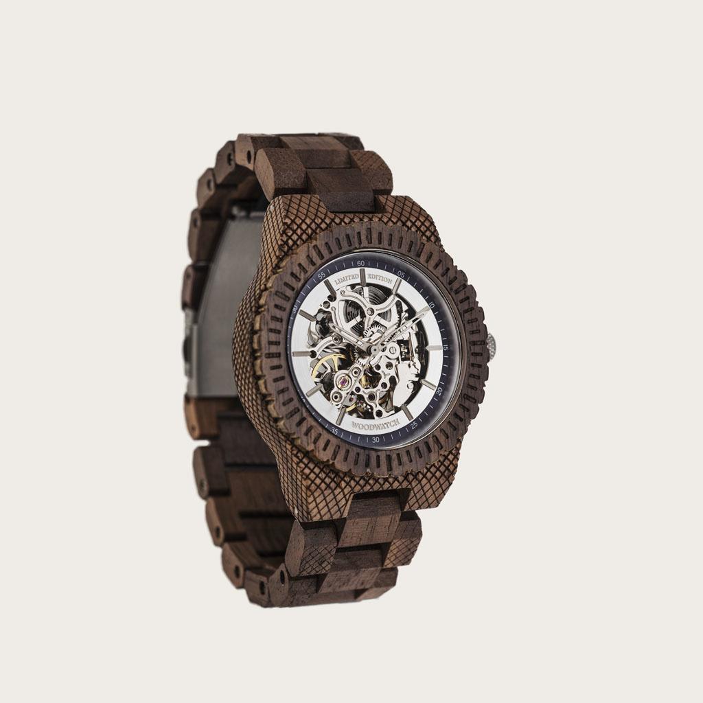 woodwatch mannen houten horloge automatic collectie 42 mm marine explorer walnoot hout