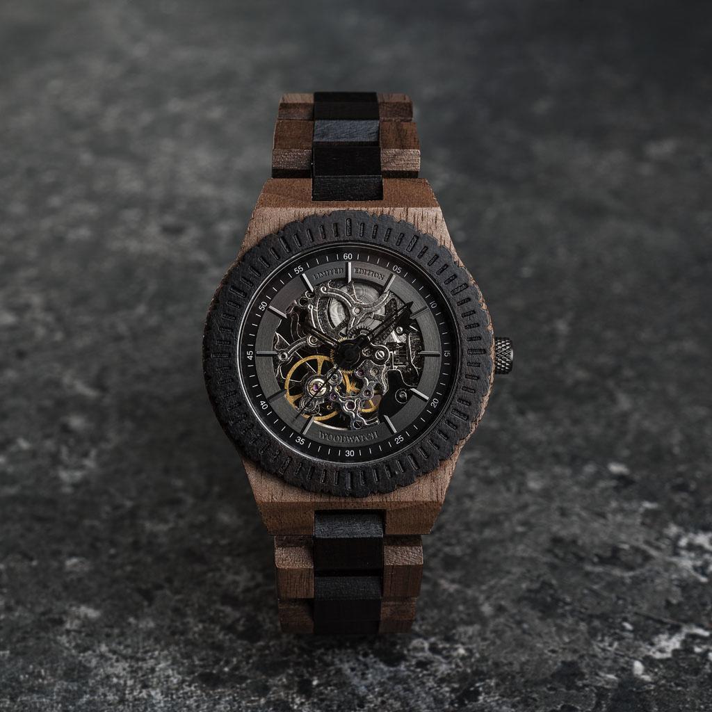 woodwatch mannen houten horloge automatic collectie 42 mm urban navigator walnoot hout ebbenhout